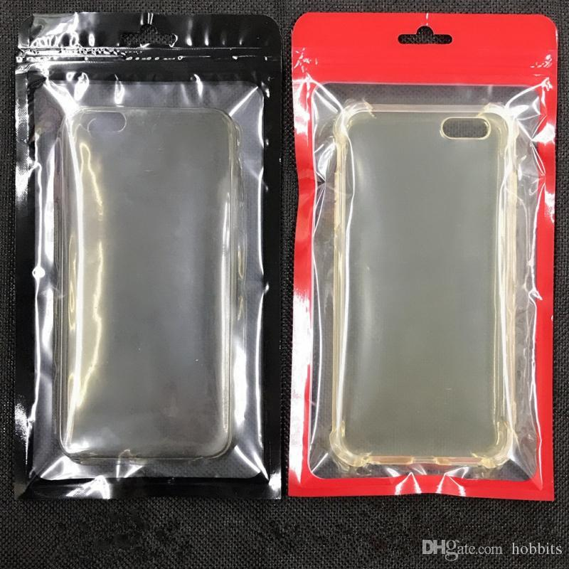 Zip Lock Bags Zipper Retail Package Clear Transparent Bag Cell Phone FOR iPhone 7 Samsung S8 Case Plastic Packing Bags Hang Hole Pouches