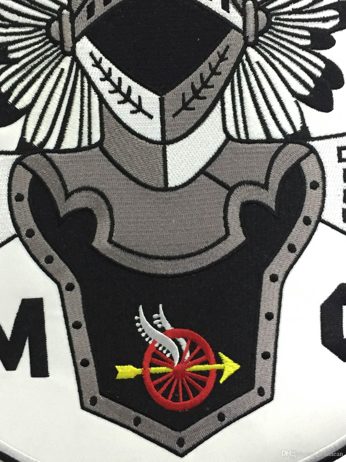 HOT SALE COOLEST INDIAN KNIGHTS MC BACK EMBROIDERY PATCH MOTORCYCLE CLUB VEST OUTLAW BIKER MC COLORS PATCH