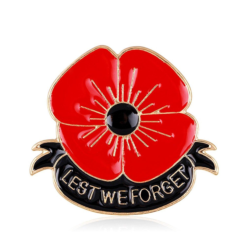 2018 Gemin Lest We Forget Poppy Brooch Pin Flower Broach Memorial