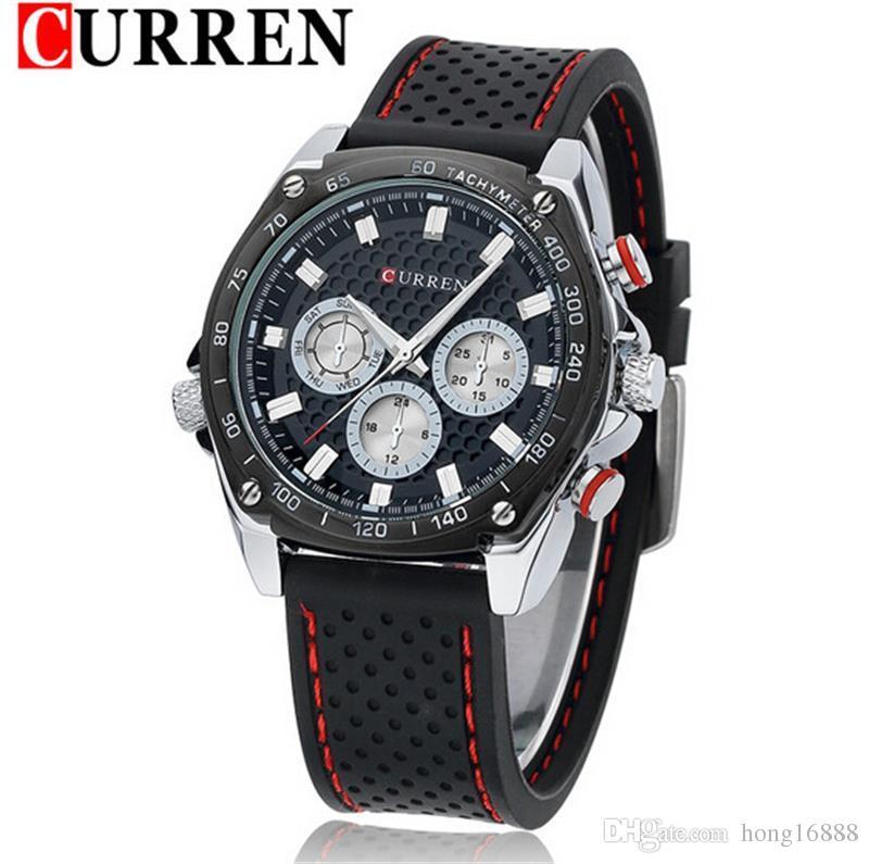 CURREN 8146 Luxury Brand Silicone Strap Watches Analog Date Men s Quartz  Watch Casual Watches Men relogio masculino Wristwatch wholesale