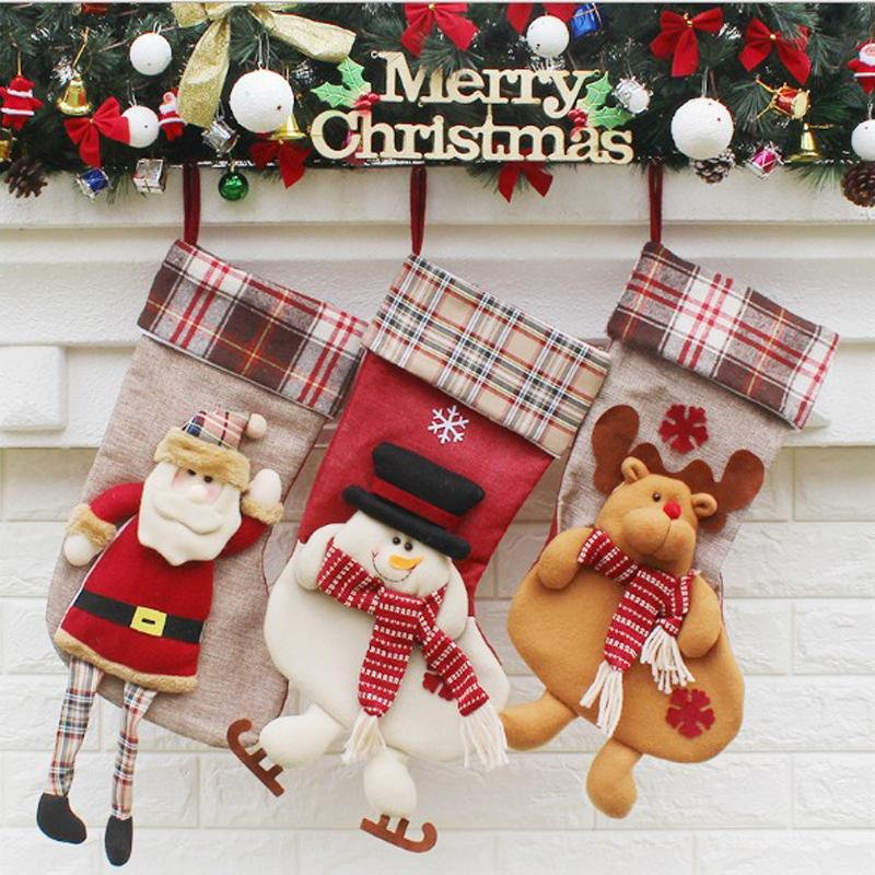 Christmas Stockings Socks New Christmas Gifts For Children Xmas Decoration Cute Candy Bag Socks Christmas Tree Ornaments