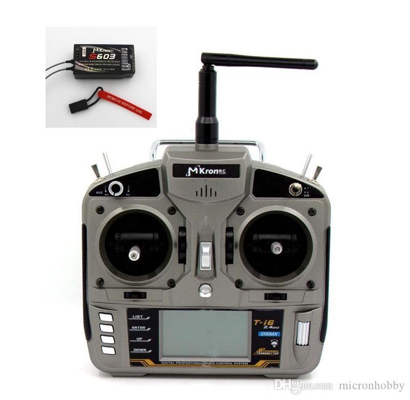 MKron T-i6 DSMX Trasmettitore radio Full Range 2.4GHz 6 CH Passa la funzione di temperatura indietro con la temperatura W / S603 Ricevitore remoto