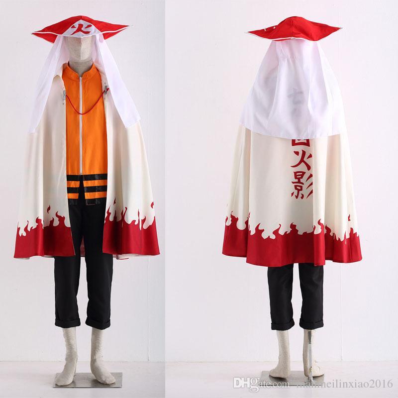 Japanese Anime Naruto Uzumaki Naruto12 Hokage Cosplay Costume Halloween Cloak Hat Cartoon Character Costume Customize Full Set