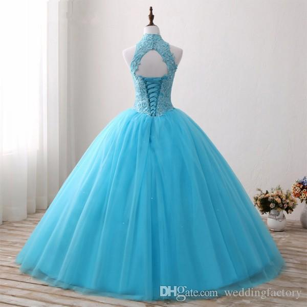 2017 Aqua Blue Ball Gown Quinceanera Dresses High Neck Sleeveless Beaded Lace Appliques Open Back Corset Puffy Tulle Sweet 16 Dresses