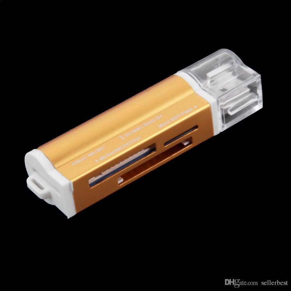 마이크로 SD / TF M2 MMC SDHC MS 메모리 스틱 용 USB 2.0 멀티 메모리 카드 리더기 일체형