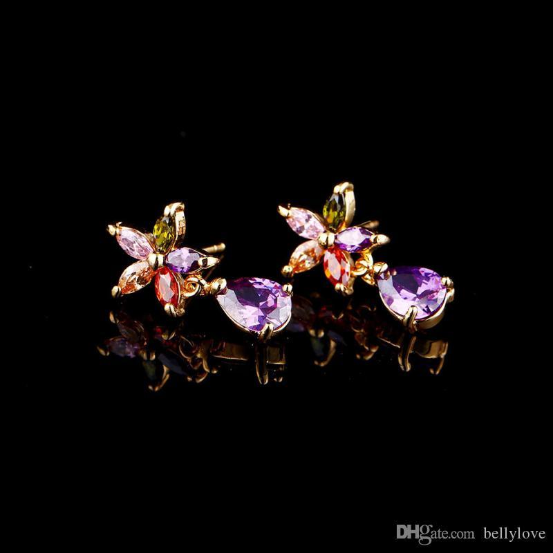 18K plaqué or jaune zircon cubique CZ fleurs larme boucles d'oreilles pour les femmes meilleur cadeau