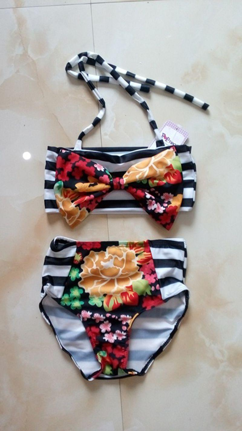 Family Matching Outfits Mother And Daughter Summer Clothes Baby Girls Flower Swimwear Kids And Parent Fashion Look