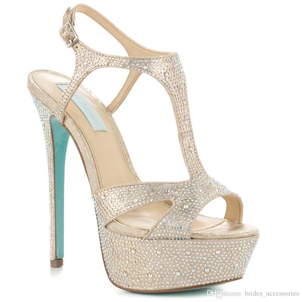 2729c3842aba24 Bege Sapatos De Casamento Plataforma Dedo Do Pé Aberto T-Correias Finas  Salto Alto Mulheres Sandálias T-Correias Feito À Noite Festa À Noite ...