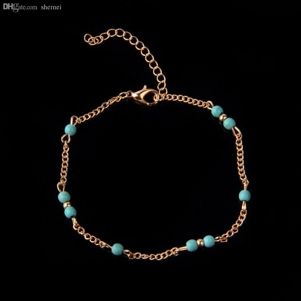 Wholesale-1Pcs Unique NTurquoise Beads Silver Chain Anklet souvenir Ankle Bracelet Foot Jewelry Fast New Hot Fashion