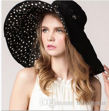 Kadın Katlanabilir Disket Geri Dönüşümlü Sunhat Geniş Geniş Ağız Kap Yaz Plaj Çiçek Iki Tarafın Şapka UV Koruma