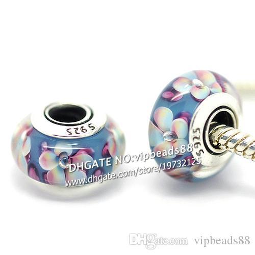 S925 gioielli in argento sterling fiori sfumati perle di vetro di murano adatto europeo fai da te pandora bracciali charm collana 253