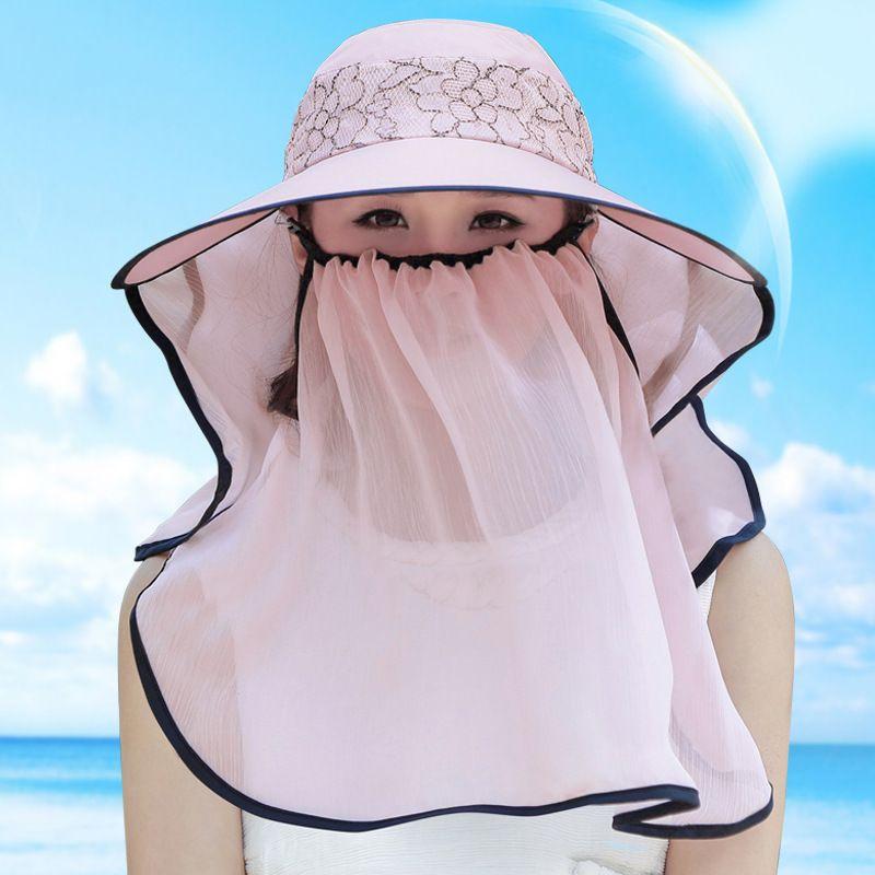 8dff18dab89b0 Womens Sun Protection Hats Summer Beach Chiffon Face Neck 360 UV Floppy Cap  Visor Mask Ultralight Breathable Hats For Women Trilby Hat From  Jieqiongliu