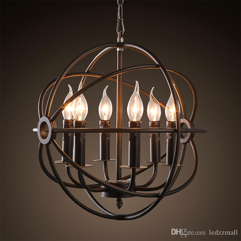 Discount Industrial Lighting Restoration Hardware Vintage Pendant Lamp  Foucault Iron Orb Chandelier Gyro Loft Light 50cm 65cm Modern Ceiling  Lights Hanging ... - Discount Industrial Lighting Restoration Hardware Vintage Pendant