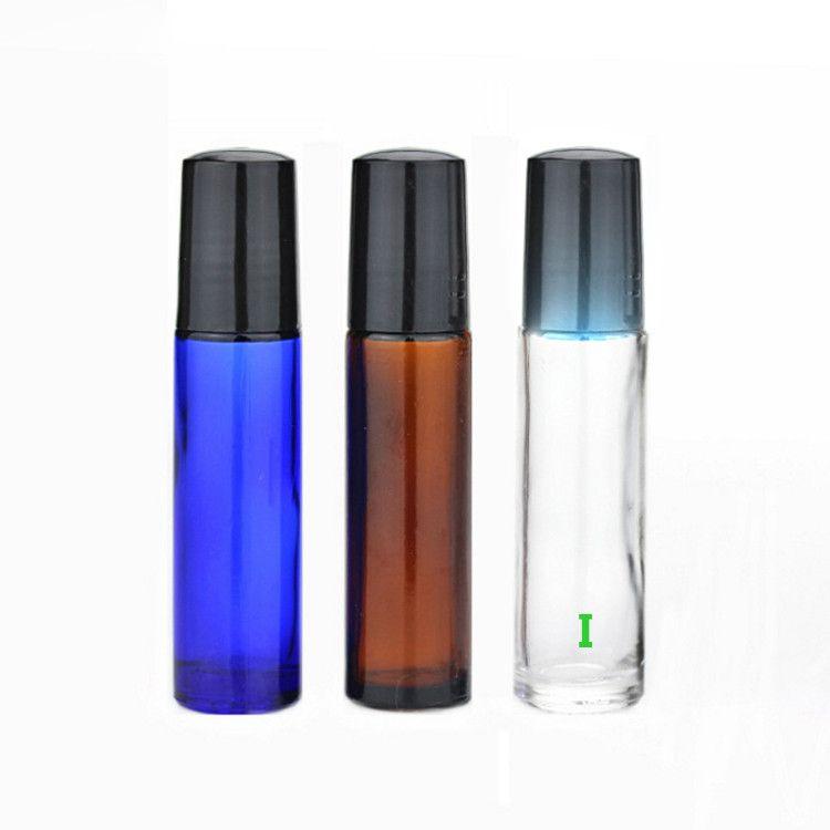 Очень популярны новые стеклянные бутылки Роликовые! 10мл 1 / 3oz стекла Ролл на бутылки с металлическим шариком и черной крышкой для Эфирного масла Духов
