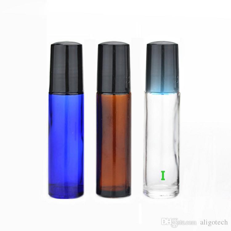 HOt Продажа Стеклянные бутылки 10мл стекло Roll On Эфирные масла Духи бутылки с нержавеющей стали роликовый для макияжа Свободная DHL корабля