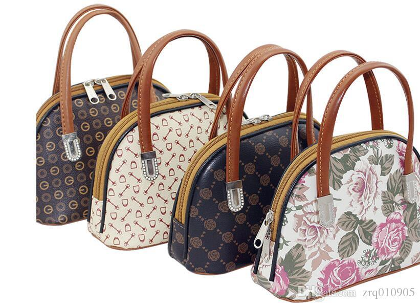 Retro-Print-Handtasche, Mode-Styling-Shell-Tasche, Geldbörse Mutter, Mama Lebensmittelgeschäft Einkaufstasche, Mini-Handy-Paket, Schlüssel Hand tragen kleine Taschen