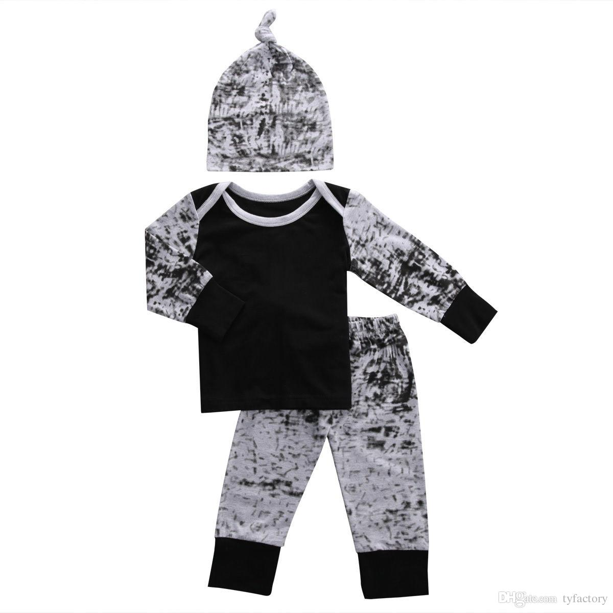 2016 baby boy girl suits european style fashion shirt+hat+pants legging children boys outfits Sets infant cotton suit Newborn Clothes