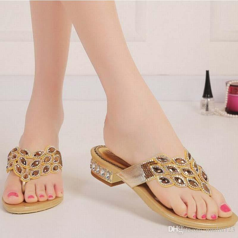 Hot Big Size 34 44 New Arrival Summer Fashion Rhinestone Sandals Female  Crystal Flat Low Heels Slippers Flip Flops Women Beach Casual Shoes  Designer Shoes ... 1dff0934e33b