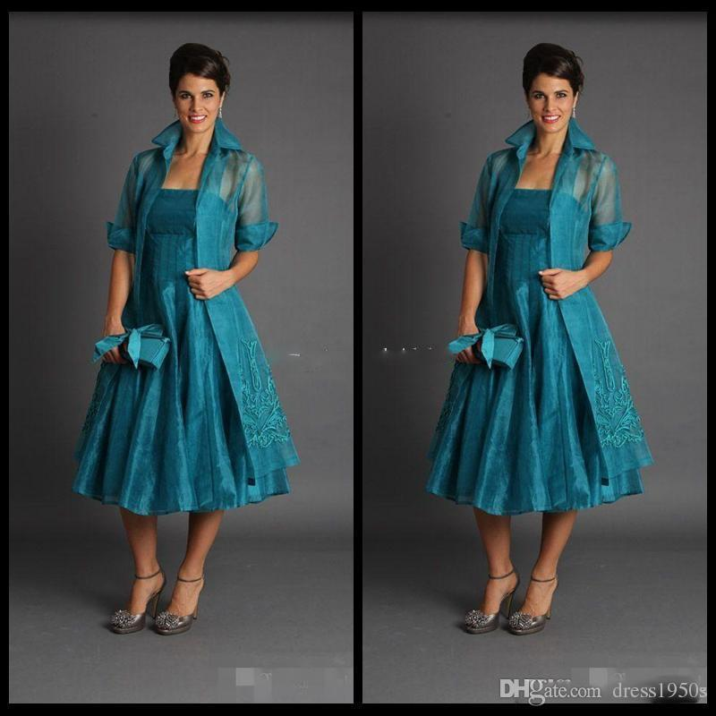 Elegant A Line Plus Size Short Mother of The Bride Dresses 2018 Jacket Teal Length Suits Evening Gowns Cheap Organza