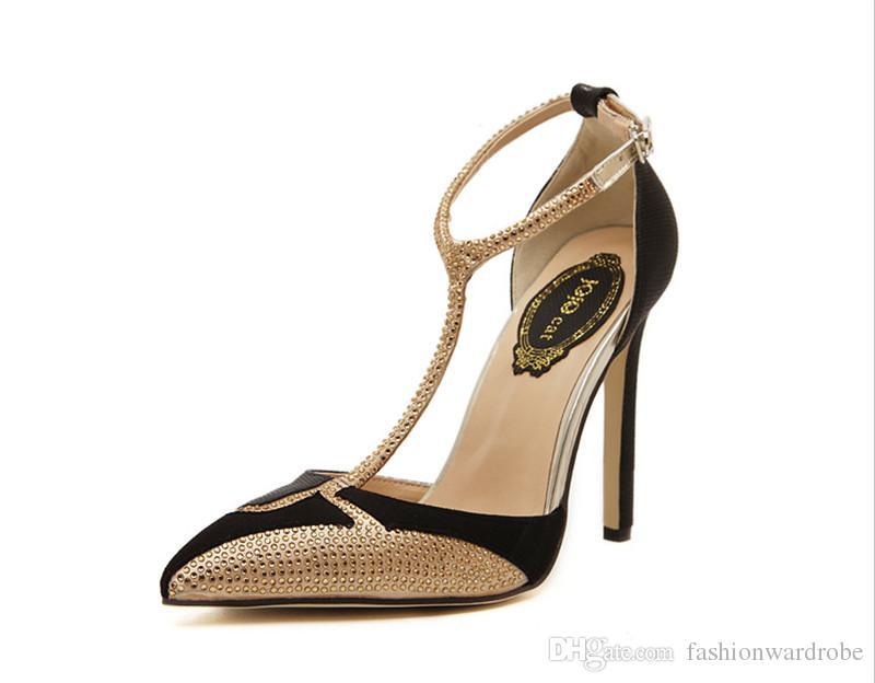 l'atteggiamento migliore db020 6d8f2 Acquista Scarpe Eleganti In Oro Bianco Nero Scarpe Con Cinturino Alla  Caviglia Tacchi Alti Vendita Calda Scarpe Da Sposa Con Glitter Scarpe A  Punta ...
