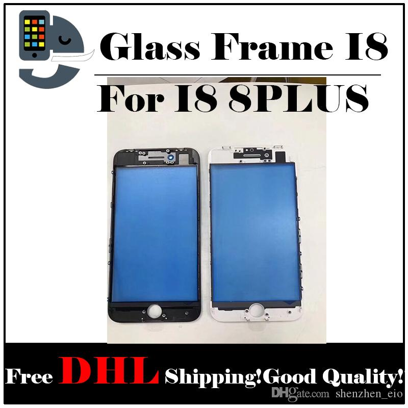 For iPhone 8 iPhone 8 plus Front Touch Screen Panel Outer Glass Lens with Cold Press Middle Frame Bezel Screen Replacement