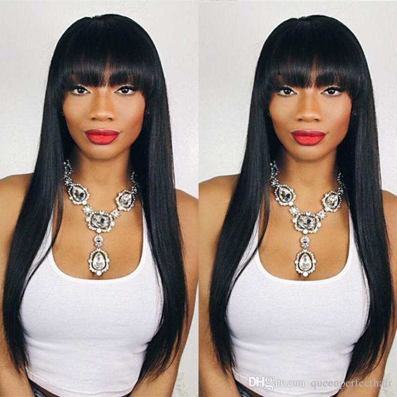 Großhandel Mode Vorrat Lange Seidige Gerade Schwarze Haar Perücken