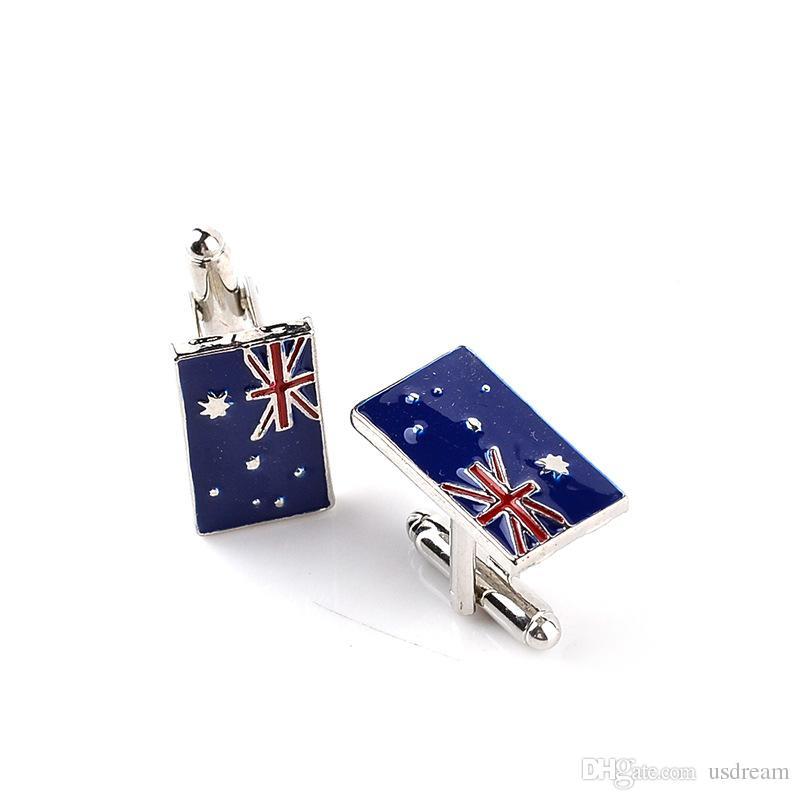 Nationalflagge Australische Flagge Manschettenknopf Manschettenknopf Ärmelnagel für Frauen Männer Hemden Kleid Anzüge Legierung Manschettenknöpfe Weihnachtsgeschenk 170642