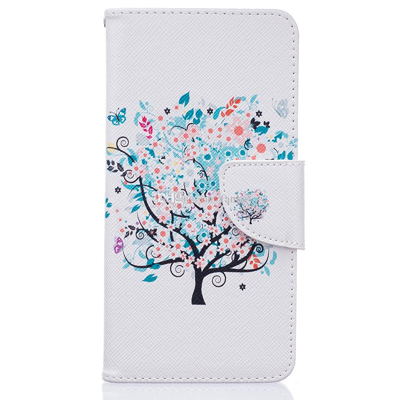 High Quality Polychrome Tree Printed Plant Flip Cover PU Leather Case With Stand Holder Wallet Case For LG K7/K8 K10 LEON Mix Models Photos