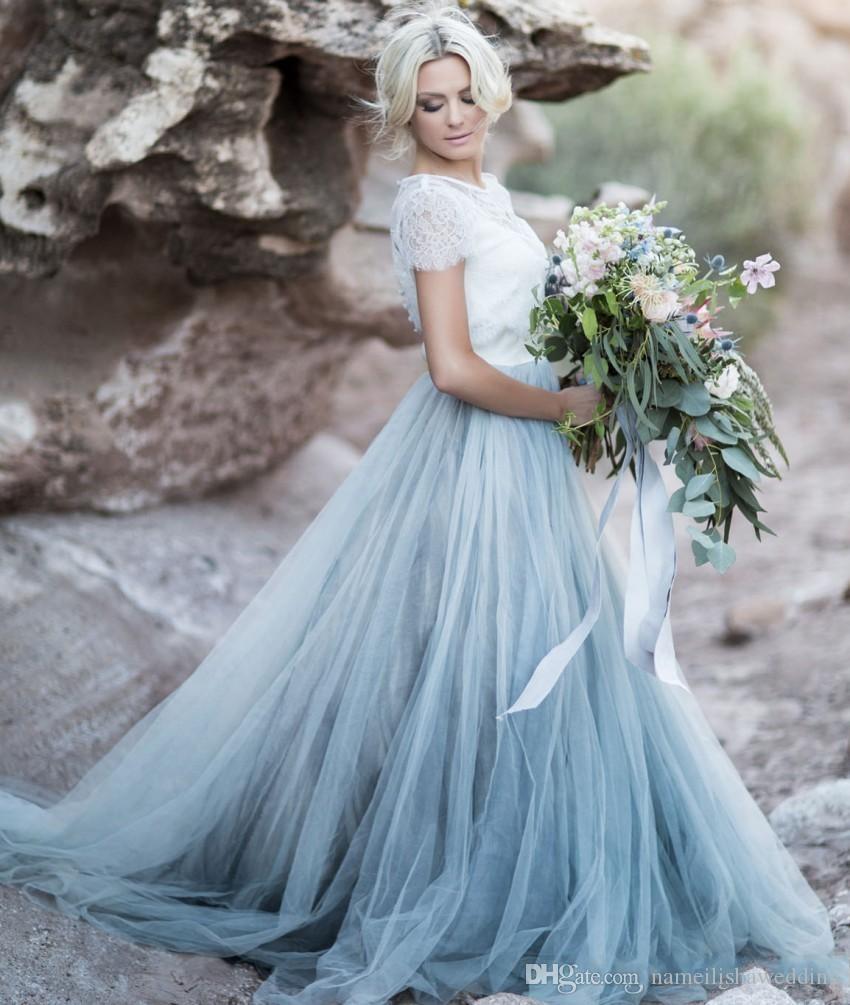 Compre Vestidos De Boda De Color Azul Claro Blanco Encaje Sheer ...