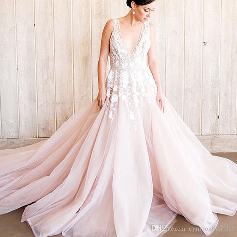 Discount Blush Pink Rustic Wedding Dresses Bohemian Style Bridal ...