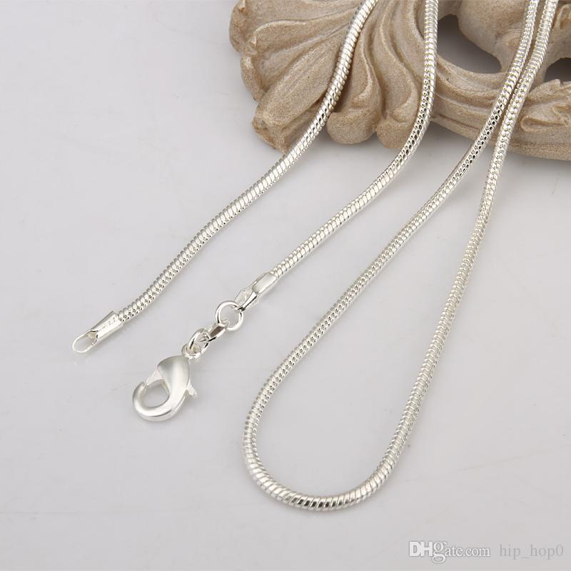 High Quality 925 Sterling Silver Necklace 2MM Snake Bone Chain Fashion Silver Plated Chains 16inch/18inch/20inch/22inch/24inch