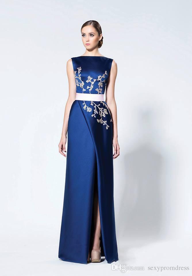 Compre Vestidos De Noche árabes De Color Azul Marino Con Capa De Abrigo Apliques De Satén Divididos Altos Vestidos De Baile Vestido De Madre De Novia