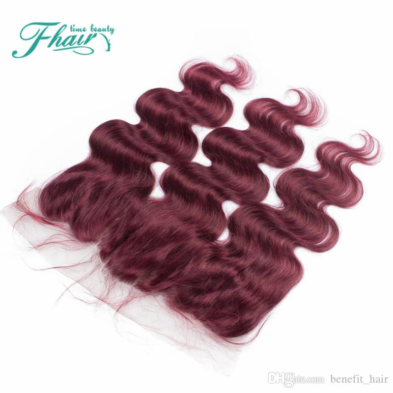 99J Wine Red Ear To Ear Lace Frontal Closure Free Middle 3 Part Burgundy Brazilian Body Wave Frontal Closure 13x4 DHL