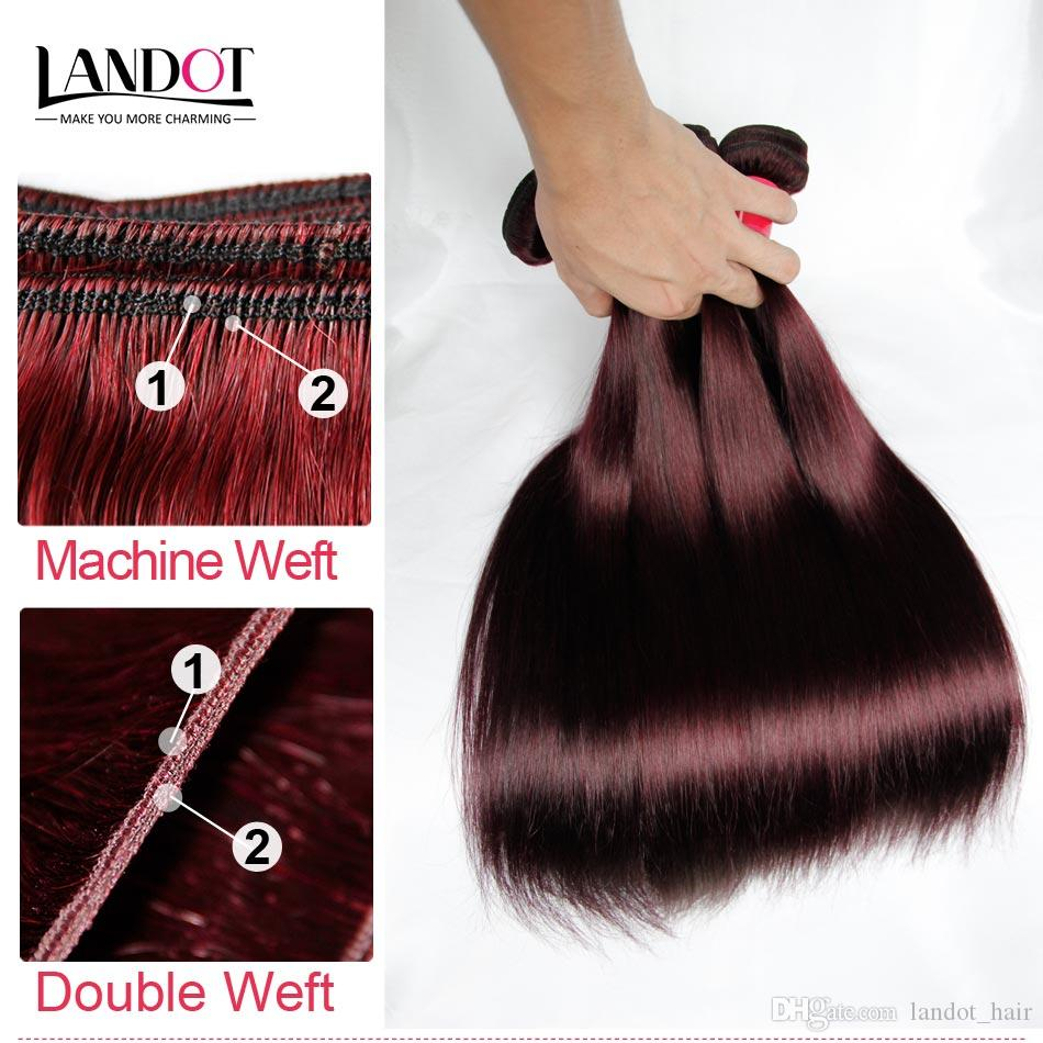 Burgundy Wine Red Color 99J Brazilian Virgin Hair Weave Bundles Peruvian Malaysian Indian Silky Straight Virgin Remy Human Hair Extensions