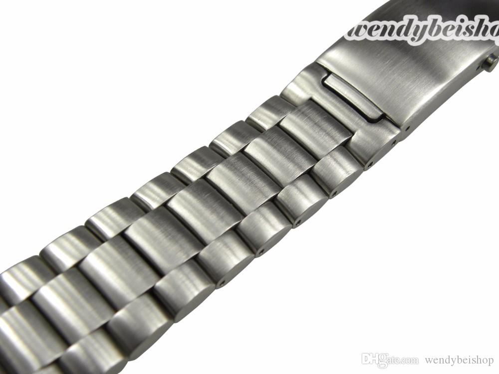 22mm New Silver Stainless Steel Watch Band Strap Belt Bracelet Professional Double Push Deployment Glide Lock Clasp