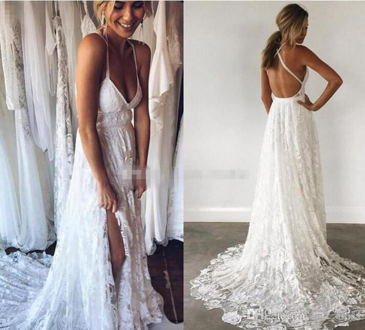 Boho Lace Wedding Dresses V Neck Criss Cross Back Backless Bohemian ...