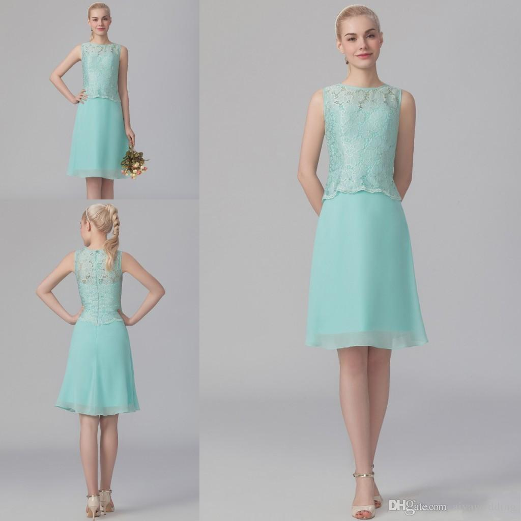 Short Mint Lace Homecoming Dresses 2017 Under 100 Jewel Neck Knee ...