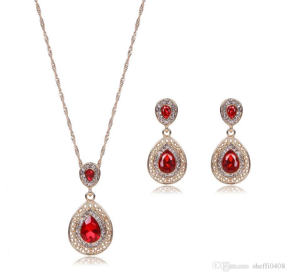 Water Drop Jewelry Sets For Women Best Gift Luxurious Big Brand Necklace Earrings Set 3 Colors Alloy Jewelry For Fashion Party Wear 61152240