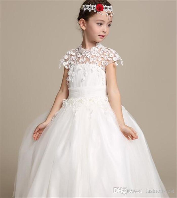 2016 Nueva Niña de las Flores Vestido de Organza Blanco Princesa Noble Elegance Wedding Lace Off Shoulder Para Fiesta de Cumpleaños Boda de Navidad