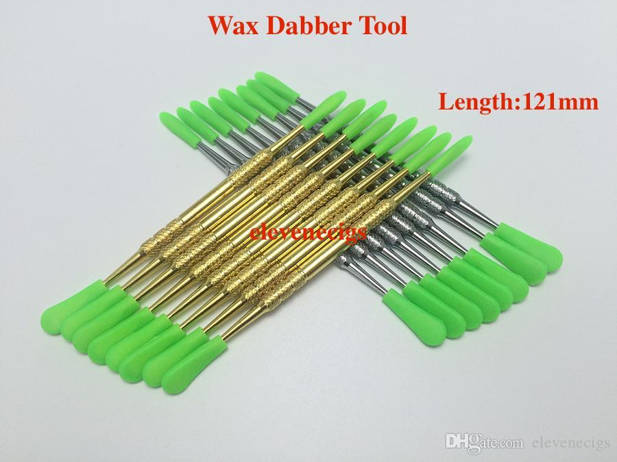 실리콘 캡이있는 금색과 은색 색상 왁스 Dabber 도구 121mm 106mm 61mm DAB 도구 건조 허브 기화기 펜