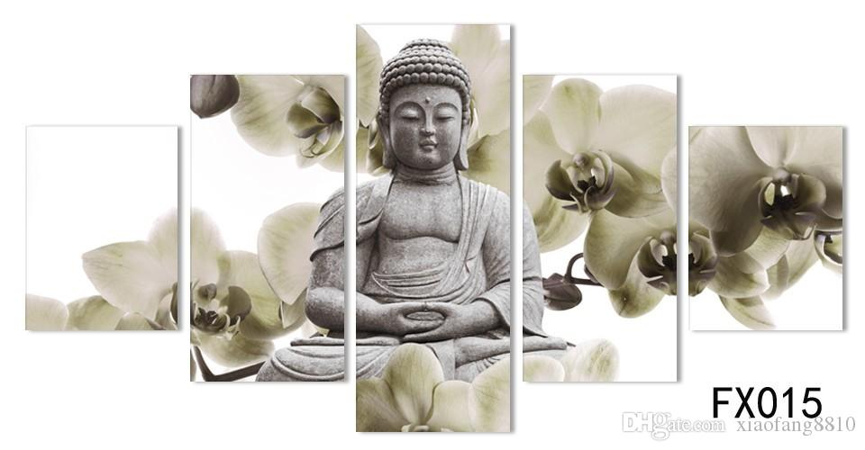 UnFramed 5 Panel Large orchid background Buddha Painting Fengshui Canvas Art Wall Pictures for Living Room Home Decor Fx015