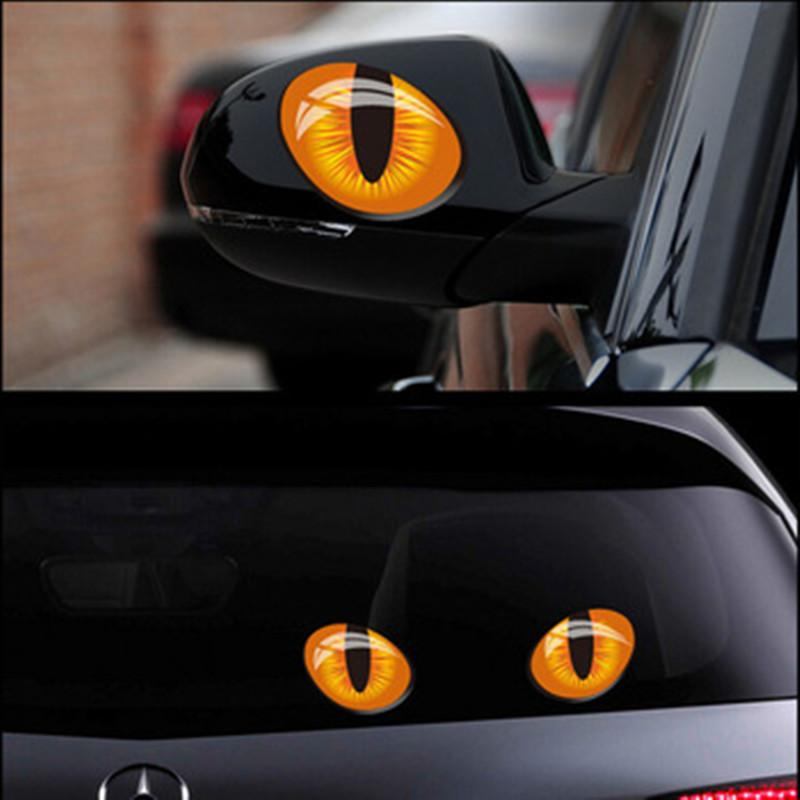 Simulation cat eyes car stickers 3d vinyl decals on cars head engine cover rearview mirror decoration order≪18no track cover for cars cover of car from
