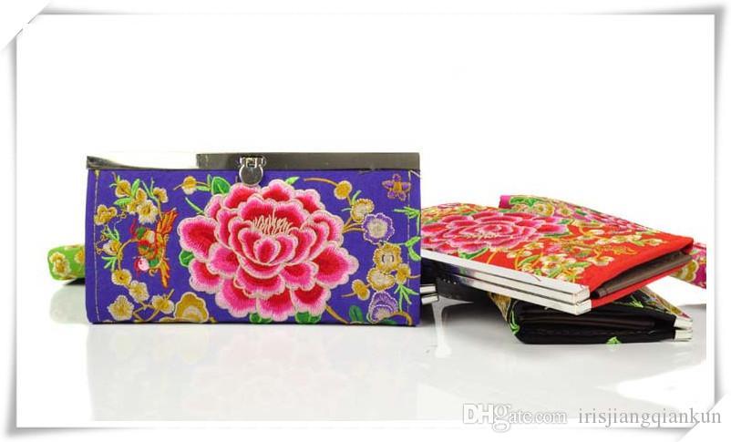 2016 neue Merkmale der ethnischen Merkmale China Stickerei bestickte Dame Long Bag Wallet Purse handgemachte Stickerei