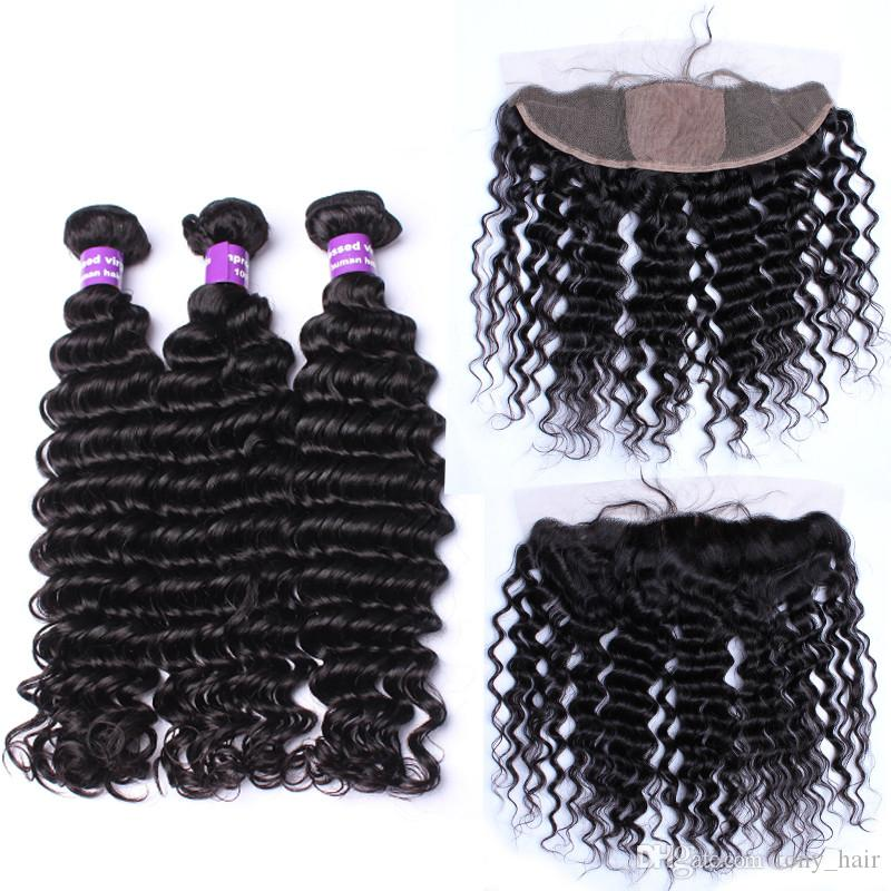 Virgin Brazilian Deep Curly Silk Base Frontal With 3Bundles Brazilian Deep Curly Hair Weaves With Silk Top Full Lace Frontals 13x4