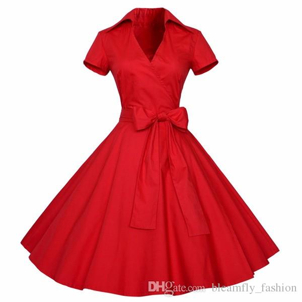 Womens Summer Elegant Red Black 1950s Vintage Pinup Retro Rockabilly Audrey Hepburn Style 50s 60s Belted Bow Party Swing Dress
