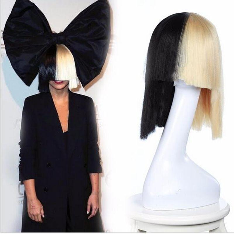 Blonde Sia Wig Thick Blunt Bob Wig Top Cosplay Women s Half Blonde And  Black 2 Tone Hair Short Straight Cosplay Costume Wig Women s Wig Wigs  Cospay Sia Wig ... 70b61c431