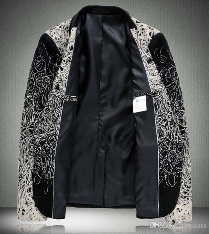 2016 Large Size Men Blazer M-6XL New Fashion High Quality Business Suit Dish Silk Flora Personality Blazer Men Plus Size 5XL