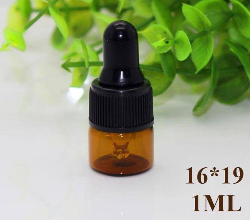 Großhandels1ml 2ml 3ml bernsteinfarbene Glastropfflaschen w / schwarze Kappe, Flasche des ätherischen Öls, kleine Parfümfläschchen, Probenahme-Speicher JF-17