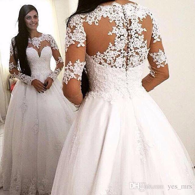 2016 새로운 라인 웨딩 드레스 보석 목 긴 소매 레이스 아플리케 페르시 롱 스위프 기차 얇은 얇은 명주 그물 플러스 사이즈 공식적인 신부 가운