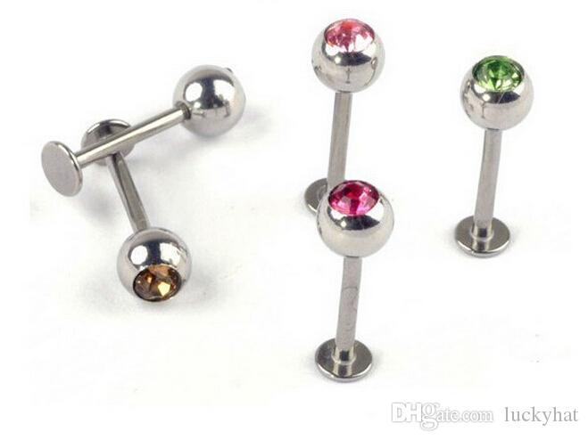 mix Bulk Stainless Steel Lip Chin Labret Ring Bar Stud Tragus Ball Body Piercing Puncture Crystal flat bottom lip nail stainless steel body